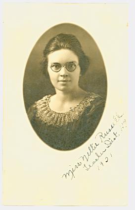 Miss Nellie Russell, Teacher Dist. 117 (1921)