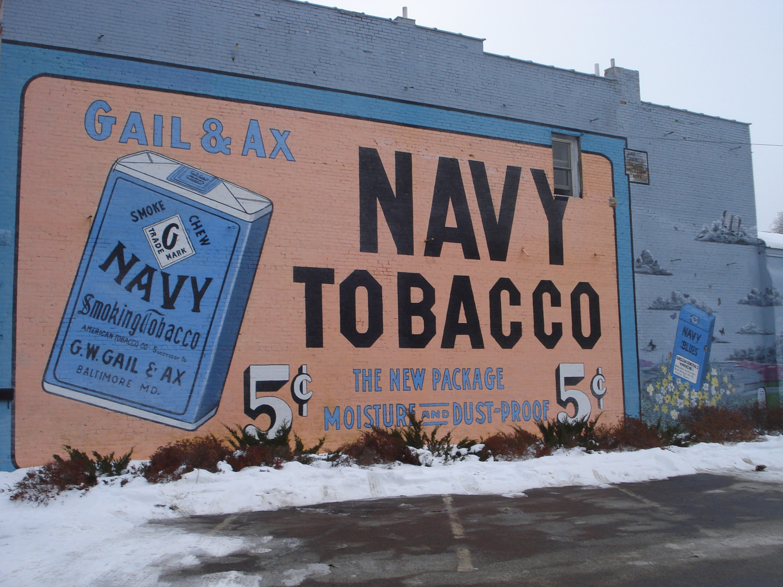 Gail & Ax Tobacco Mural, Little Falls, Minnesota. Photo by Alice Smuda, January 2008.