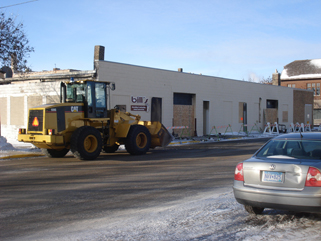 After the fire - Bills Decorating & Iron Hills Pawn Shop, north side of building, Little Falls, MN, January 26, 2010. Isnt the heavy equipment impressive?