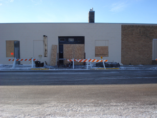 After the fire - north side of Iron Hills Pawn Shop/Bills Decorating, Little Falls, MN, January 26, 2010.