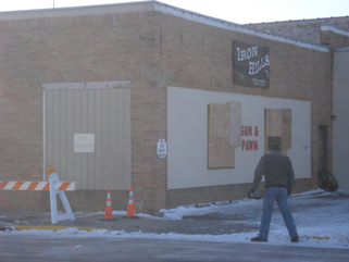 Front of Iron Hills Pawn Shop, Little Falls, MN, January 26, 2010
