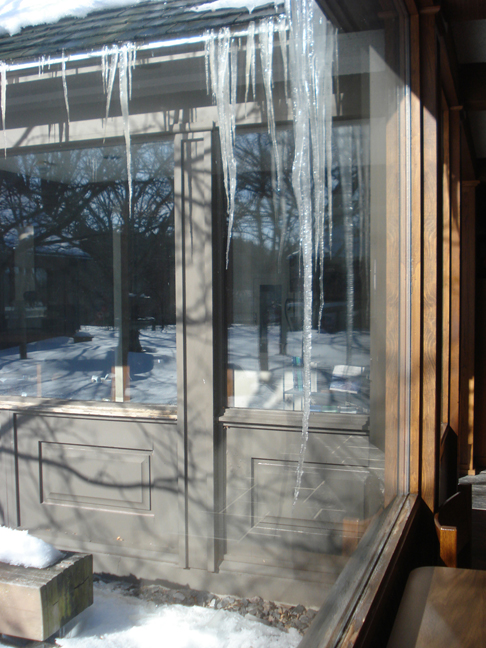 GINORMOUS - Icicle in northeast corner of museum courtyard, February 25, 2010.