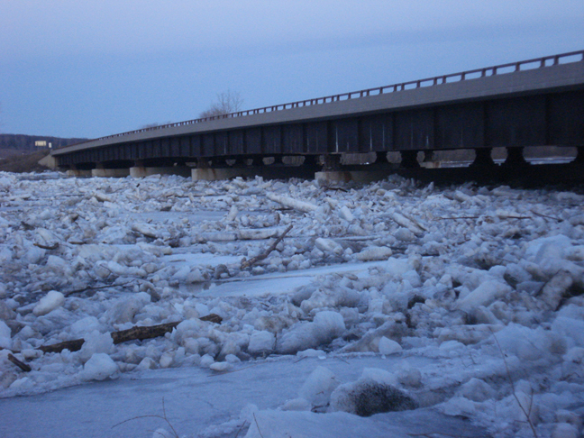Ice flow up against Highway 10 bridge north of Little Falls, MN, March 17, 2010.