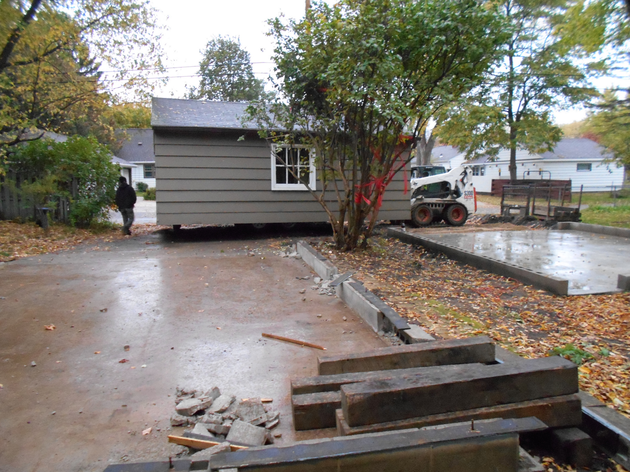1950s garage being moved to another location on the Johnson family property in St. Cloud, MN, October 2013. The garage was moved by Ehrlichmann Structural Movers based out of Royalton, MN.