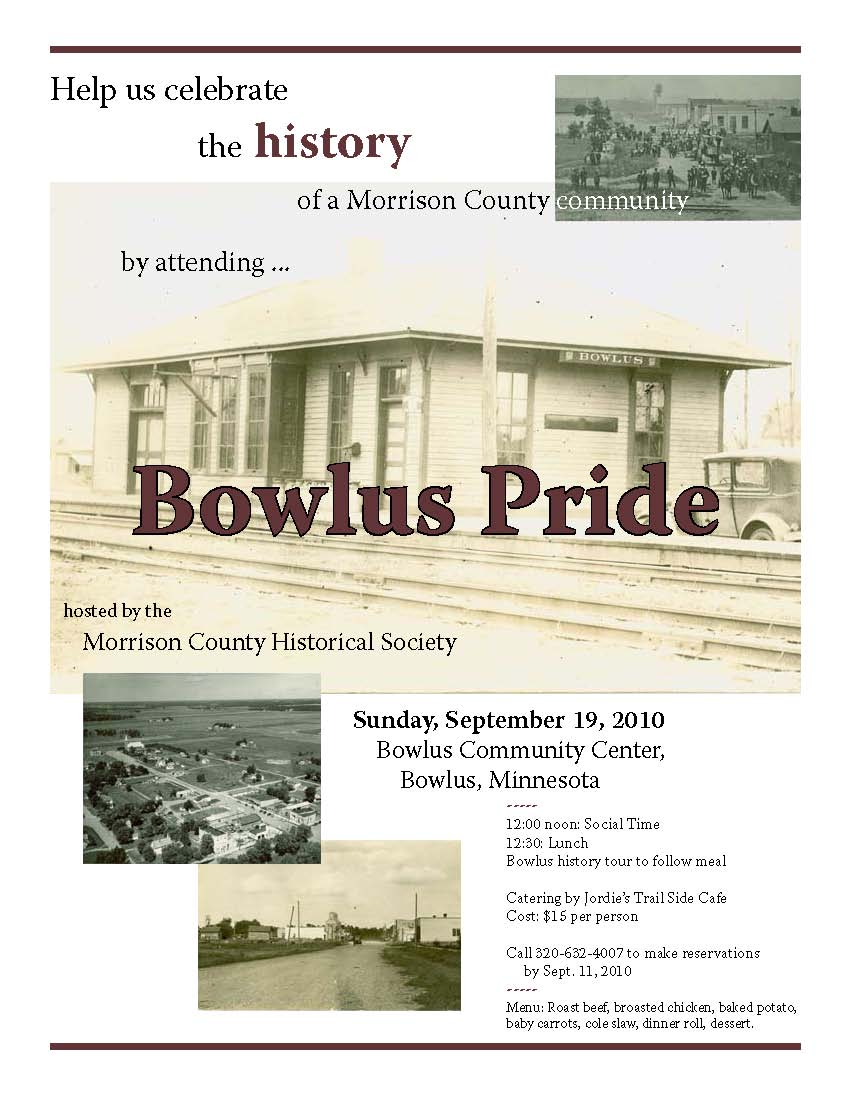 bowlus pride cash raffle events morrison county historical society bowlus pride flyer