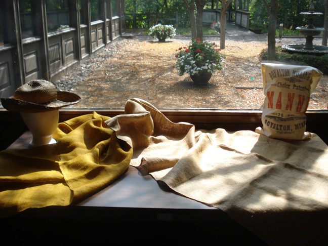 Heres what we have now - an exhibit with a straw hat and flour sack.