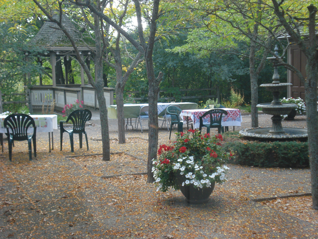 Tables in the courtyard, Garden Gala, September 13, 2009