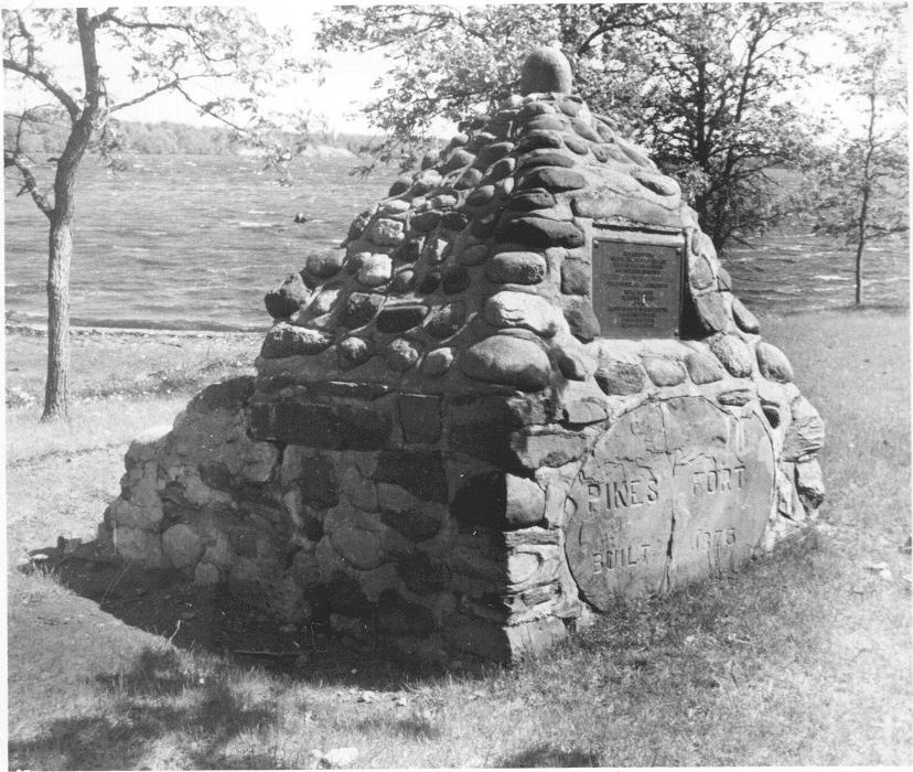 Zebulon Pikes monument, built of stones taken from the fireplace of Pikes Fort south of Little Falls. The monument sits on private property. Photo from the collections of the Morrison County Historical Society.