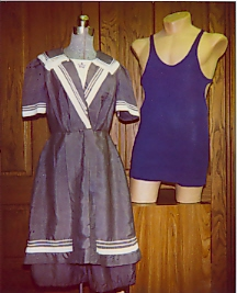 Lottie Lee Tanners Victorian swimsuit and Fred Welkers union-style suit from the Morrison County Historical Societys collections. Photo dated 2001.