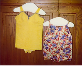 Bertha & Mabel Zimmermans swimsuits from the Morrison County Historical Societys collections. Photo dated 2001.
