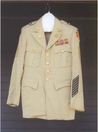 Martin Schweitzers WWII Army Jacket from the Morrison County Historical Societys collections, photo by Mary Warner, 2002.